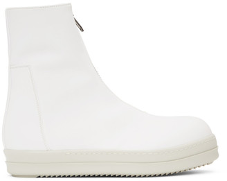 Rick Owens White Zipfront High-Top Sneakers