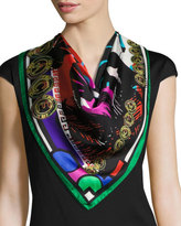 Versace Circular Abstract Foulard Scarf, Multi