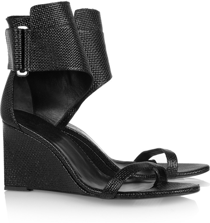 Karl Lagerfeld Woven patent-leather wedge sandals