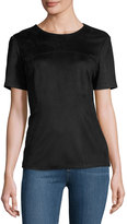 Neiman Marcus Fitted Faux-Suede Tee, Black