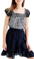J.Crew Women's Embroidered Gingham Top