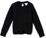 Pink Angel Black Floral Lace Sweater - Girls