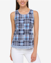 Tommy Hilfiger Cotton Plaid Patchwork Top, Created for Macy's