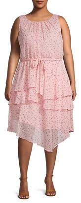 Emma & Michele Plus Tiered Dot-Print Dress