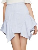 BCBGMAXAZRIA Pinstripe Asymmetric Flared Cotton Pencil Skirt