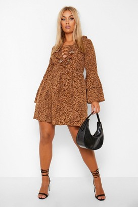 boohoo Plus Leopard Print Ruffle Smock Dress