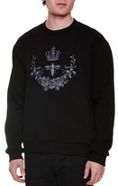Dolce & Gabbana Crown & Bee Embroidered Crewneck Sweatshirt, Black