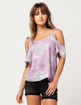 Hip Floral Ties Womens Cold Shoulder Top