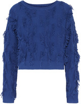 Milly Fringed cotton-blend sweater