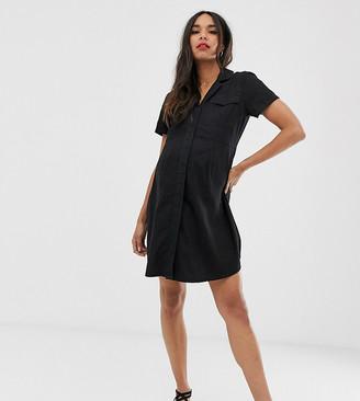 Asos DESIGN Maternity denim pocket detail mini shirt dress