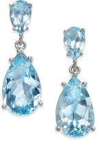 Macy's Semi Precious Gemstone Teardrop Drop Earrings (7 ct. t.w.) in Sterling Silver (available in Smoky Topaz, Green Amethyst, Citrine, Blue Topaz and Mystic Topaz)