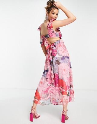 Forever U oversize floral midaxi dress in pink