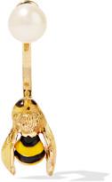 Delfina Delettrez 9-karat Gold, Enamel And Pearl Earring - one size