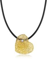 Orlando Orlandini Woven Light Yellow Gold Heart Pendant Necklace w/Diamond