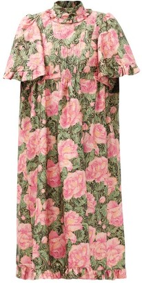 Paco Rabanne Ruffled Metallic Floral-jacquard Dress - Pink Print