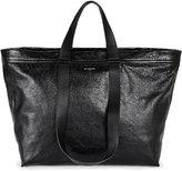 Balenciaga Black Exposed Zip Carry Shopper Leather Bag