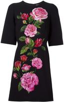 Dolce & Gabbana rose print cady dress - women - Viscose/Silk/Spandex/Elastane/Cotton - 38