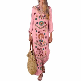puseky Women Vintage Deep V-Neck Long Dress Loose Kaftan Print Long Sleeve Maxi Sundress (Pink L)