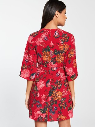 AX Paris Knot Front Floral Dress - Red