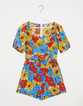 Neon Rose belted romper with puff sleeves in bright vintage floral