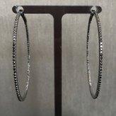 Rocks With Soul Skinny Black Diamond Hoop Earrings