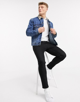 Topman denim jacket with cord collar in mid wash blue