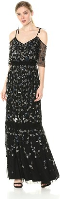 Adrianna Papell Women's Cold Shoulder Flounce Fully Beaded Long Mesh Dress