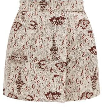 Sir - Stella-print Linen Mini Skirt - Beige