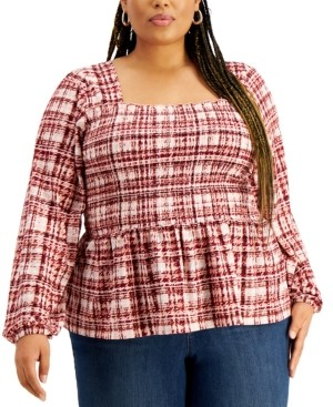 Full Circle Trends Trendy Plus Size Puff-Sleeve Top