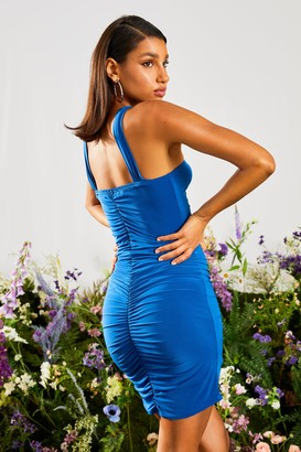 boohoo Ruched High Neck Bodycon Dress