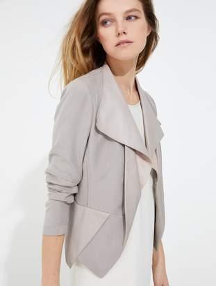 Halston Leather twill combo jacket