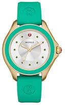 Michele Cape Goldtone Green Topaz Silicone Strap Watch