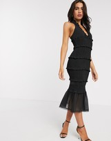 Asos Design DESIGN shirred midi dress with v neck and ruffle detail
