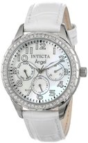 """Invicta Women's 12602 """"Angel"""" Stainless Steel Crystal-Accented Watch with Leather Band"""