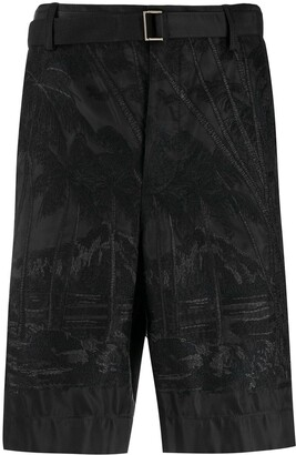 Sacai Belted Embroidered Bermuda Shorts
