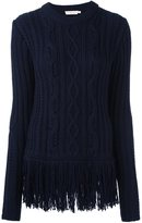 Tory Burch cable knit jumper - women - Acrylic/Polyamide/Wool - L