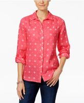 Charter Club Linen Printed Blouse, Only at Macy's
