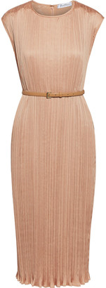 Max Mara Gineceo Belted Plisse-satin Dress