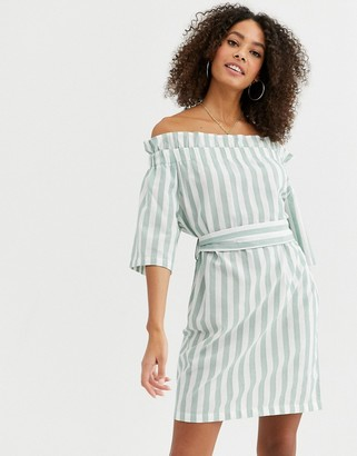Urban Bliss eleanor off shoulder dress in pastel stripe