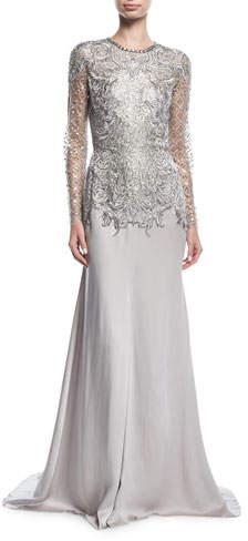 Jenny Packham Embroidered Evening Gown with Embellished Bodice
