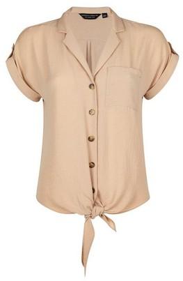 Dorothy Perkins Womens Stone Utility Tie Hem Shirt