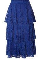 Dorothy Perkins Womens Cobalt Tiered Lace Skirt- Cobalt