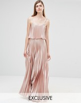 True Violet Pleated 2 in 1 Maxi Dress