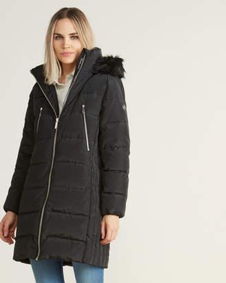 MICHAEL Michael Kors Black Faux Fur-Trimmed Long Coat
