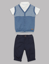 Autograph 3 Piece Shirt & Trousers with Sweater Outfit