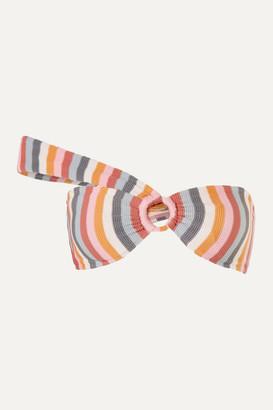 Peony Swimwear Net Sustain One-shoulder Striped Bikini Top - Pink