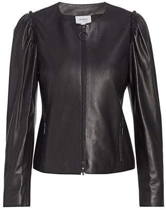 Akris Punto Perforated Mini Ruffle Leather Jacket