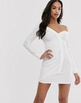 Asos DESIGN off shoulder drape detail shirt midi dress