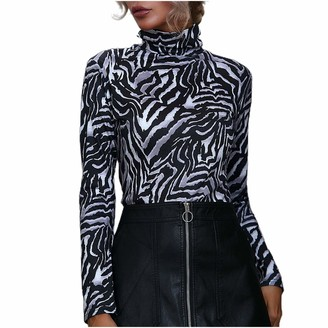Fhuuly Womens Leopard and Zebra Print Pullover Sweaters Turtle Neck Slim Long Sleveers Stretchy Jumpers Plain Polo Sweartshirt Top for Ladies (Black-1 XL)