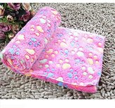 Tuscom Warm Pet Mat Small Large Paw Print Cat Dog Puppy Fleece Soft Blanket (S, Hot Pink)